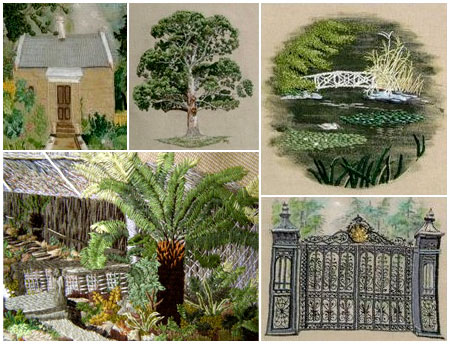 Various sections of a wall hanging depicting parts of the Royal Tasmanian Botanical Gardens