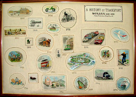 An embroidered depiction of transport in Tasmania throughout time